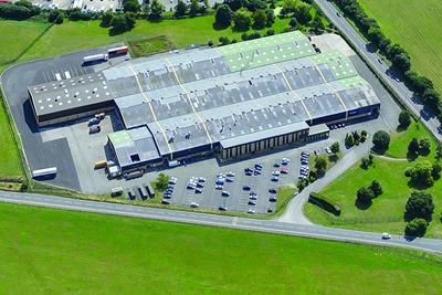Aerial view of Garador garage door factory in Yeovil